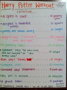 Harry Potter Workout! A way to have a healthy obsession with HP