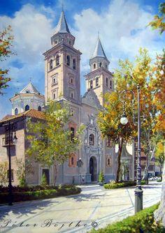 Título: Iglesia Virgen de las Angustias (Granada).  Técnica: Óleo sobre lienzo.  Tamaño: 92x65 cm.  Precio: Vendido.