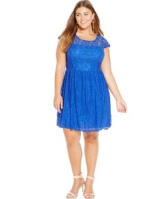 36131555d5bba Trixxi Plus Size Cap-Sleeve Lace Flare Dress Plus Sizes - Dresses - Macy s