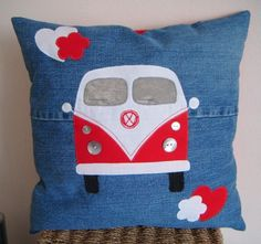 Sewing Cushions VW Camper Cushions by tonia Vw Camper, Patchwork Quilting, Quilts, Camper Cushions, Poppy Craft, Sewing Crafts, Sewing Projects, Personalised Cushions, Denim Crafts