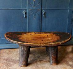 Sedufo Wood Stool Vintage Handmade Carved by RustbeltTreasures, $175.00