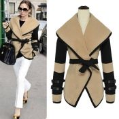 $17.99 New Style Character Turndown Collar Long Sleeve Imitation Wool Coat