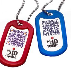 My ID Square Medical Dog Tag Necklace - Squid Tag