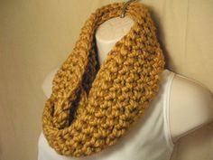 Gold Cowl Infinity Circle Scarf Neckwarmer by madebymandy35