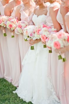 Bridesmaids in Joanna August blush pink gowns. Photography: Cary Klein Photograhy - www.carykleinphotography.com Read More: http://www.stylemepretty.com/2014/09/15/romantic-ballroom-st-louis-wedding/