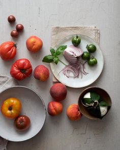 Peach, Tomato and Burrata Salad Ingredients by Joseph De Leo Food Photography Styling, Food Styling, Product Photography, Vegetables Photography, Leo, Recipe Images, Healthy Dishes, Food Design, Fruits And Veggies