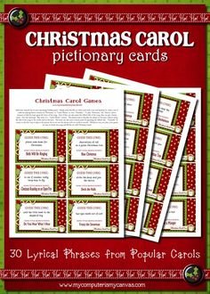 DARLING Printable Christmas Carol Pictionary Game!  30 classic Christmas carol lyrics - play like pictionary, charades or catch phrase.  Perfect for holiday party!