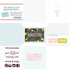 Some pretty cute opt-in and subscribe buttons inspiration for your blog. See more at http://DesignYourOwnBlog.com