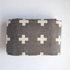 Mjölk : Cross Blanket by Pia Wallen - Cross Blanket - Mjolk Flannel Blanket, Wool Blanket, Grey Flannel, Cross Quilt, Textile Patterns, Textiles, Texture Design, Throw Rugs, Quilts