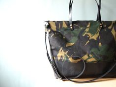 Work Tote Bag / Diaper Bag - Unisex Camo Waxed Canvas and leather Crossbody Bag - SKYE - Large Camouflage CANVAS top LEATHER base Zip Tote