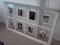 Salvaged window used as picture frame. For the photos, I used black and white postcards of actresses from Old Hollywood affixed to the panes with adhesive photo corners. Just hung it above the headboard and it looks amazing!