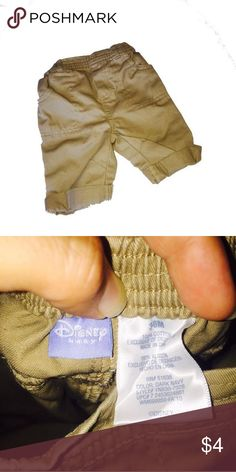Disney 3-6M Disney Baby Khaki Pants 3-6M Perfect for pictures Freshly laundered, only ever used baby detergent   No flaws, Excellent condition  Smoke free home   Shop on and bundle this with other great finds for an awesome deal!    Be sure to Like, Share, Follow, and ask any questions!  Thanks for visiting my closet!    All proceeds go to Giovanni's college fund and pool fund so he has something fun for his next Florida summer!😃Shipping level set for bundle purposes, if you would like to…