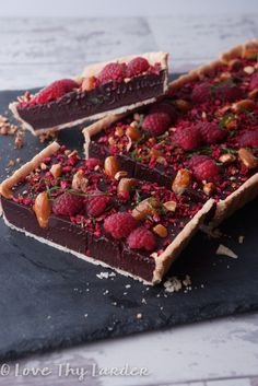 Chocolate and Raspberry Tart with a Raspberry Crumb and Croquant Almond