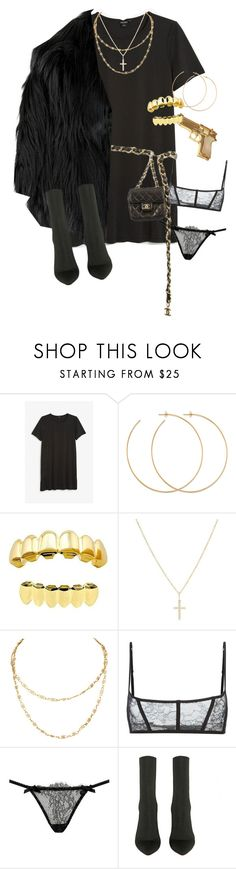 """""""I'm too much to handle"""" by damndushi ❤ liked on Polyvore featuring Monki, Allison Bryan, Rock Rebel, Sydney Evan, Maison Close, L'Agent By Agent Provocateur, Chanel and Burberry"""