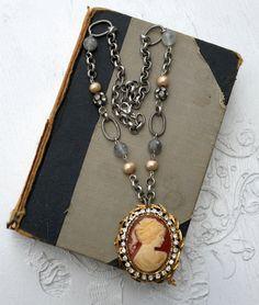 Rhinestone and Cameo Necklace