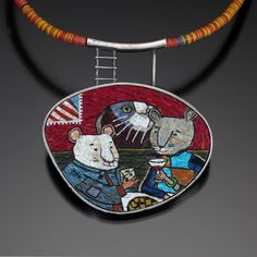 Cynthia Toops: Neckpiece in polymer micro-mosaic and sterling silver. Metalwork by Chuck Domitrovich.