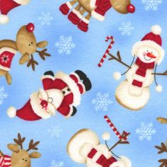 Blue flannel with santas, snowmen and reindeer