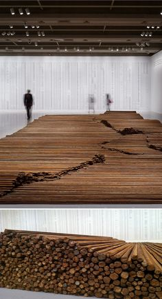 ^Ai Weiwei, Straight. 2008–12, steel reinforcing bars, dimensions variable. In Straight, Ai Weiwei uses rebar recovered from the rubble of collapsed schoolhouses following the 2008 Sichuan earthquake.