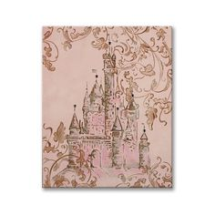 pink and brown art- princess theme- pink and gold bedroom- girls room - vintage style- castle art- crown art- hand painted canvas- baby gift