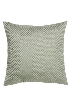 Cushion cover in satin with a jacquard-patterned front, solid colour back and concealed zip. Plain Cushions, Green Cushions, Cushion Covers, Pillow Covers, White Interior Design, H&m Home, Duvet Bedding, Pillow Sale, Jacquard Weave