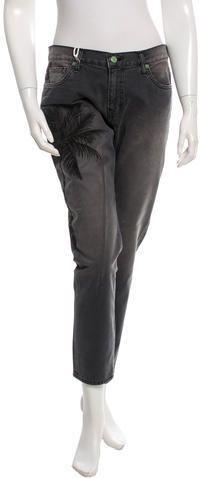 Sandrine Rose Embroidered Straight-Leg Jeans w/ Tags Parachute Pants, Denim, Tags, Stylish, Rose, Fashion, Pink, Moda, La Mode