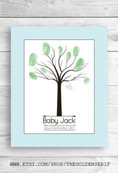 Printable New Baby Fingerprint Tree, Baby shower family tree, diy printable family tree