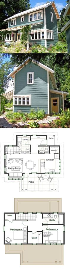 My small house Ross Chapin Architects - Brightside Cottage :: 1086 sq. Make jack and Jill bath for double Master or one large master soaker tub Cottage Plan, Cabins And Cottages, Tiny Cabins, Small Cottages, Tiny House Living, Living Room, Small House Design, Small House Plans, Tiny Home Floor Plans