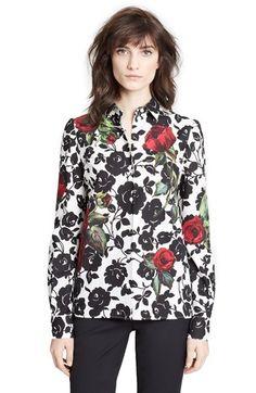 3857c78573891 Dolce Gabbana Rose Print Cotton Poplin Shirt