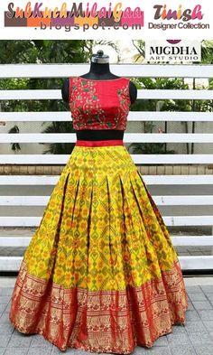 Half Saree Lehenga, Lehenga Saree Design, Lehnga Dress, Lehenga Designs, Saree Blouse Designs, Bandhani Dress, Floral Lehenga, Banarasi Lehenga, Lehenga Blouse