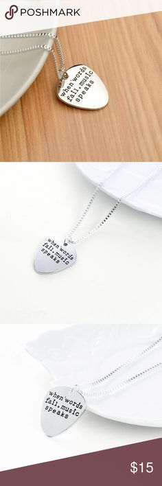 """""""When words fail.music speaks"""" necklace A necklace that is perfect for the time when are in now, so if you are every regretful or doubtful and all else fails, just leave it to music to set you free 🎶 🎶 Jewelry Necklaces"""