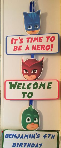 PJ Masks party door sign Pjmask Party, Party Time, Party Ideas, Third Birthday, 4th Birthday Parties, Birthday Ideas, Pj Max, Festa Pj Masks, Party Favor Bags
