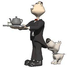 EL HOMBRE LLEVA UNA BANDEJA CON UNA CAFETERA. EL PERRO LE ESTÁ TIRANDO DE LA ROPA.