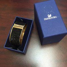 NEW Swarovski Intervalle Bangle Black Crystal Bought for $220. Never used. Half leather and  half crystalNO TRADES Swarovski Jewelry Bracelets