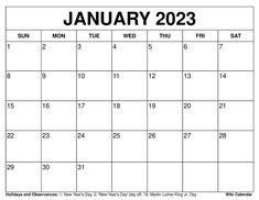 January 2023 Calendar