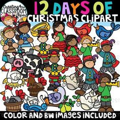 12 Days of Christmas Clipart {Christmas Clipart} Vibrant and Whimsical 12 Days of Christmas Clipart is sure to add a pop  to all of your Holiday classroom resources! There are a total of 34  images (22 color and 12 bw).