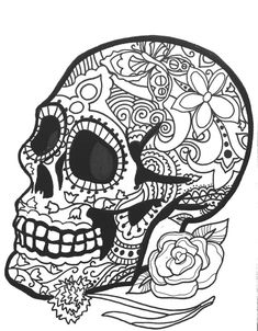 10 more sugar skull day of the dead original art coloring book pages for adults - Cinco De Mayo Skull Coloring Pages