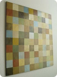 Paint chips on canvas.
