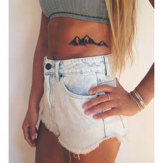 Side Tattoos, New Tattoos, Small Tattoos, Cool Tattoos, Tatoos, Henna Tattoos, Small Mountain Tattoo, Mountain Tattoos, Piercing Tattoo