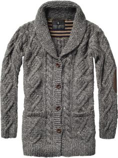 Scotch and Soda Chunky cable knitted cardigan with elbow patches