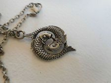 Vintage silvertone Chinese lucky double Koi fish two sided pendant and chain