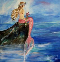 Image detail for -Mermaid Wishes Painting by Leslie Allen - Mermaid Wishes Fine Art ...