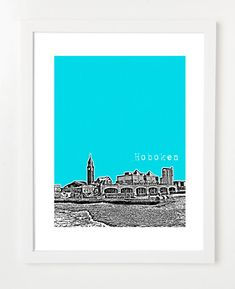 Shout out to my sista: Hoboken Skyline Poster  New Jersey City Art by BugsyAndSprite, $20.00