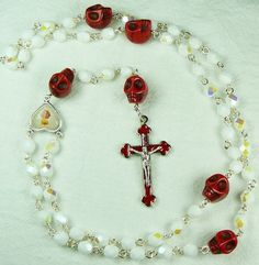 Muertos Skull Rosary with Red Stone Skulls, White Glass and Sacred Heart