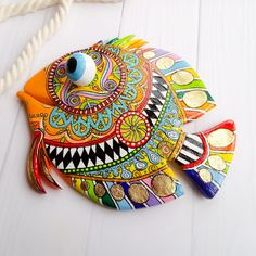Talavera pottery bright fish in Mexico folk art style. Painted fish wall art for nautical beach house decor. Ceramic fish outdoor sculpture by FairyTaleUA on Etsy Fish Wall Decor, Fish Wall Art, Fish Art, Folk Art Fish, Clay Wall Art, Clay Art, Keramik Design, Talavera Pottery, Beach House Decor