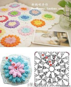 Transcendent Crochet a Solid Granny Square Ideas. Inconceivable Crochet a Solid Granny Square Ideas. Crochet Motif Patterns, Granny Square Crochet Pattern, Crochet Squares, Crochet Granny, Crochet Designs, Crochet Baby, Crochet Bedspread, Crochet Cushions, Crochet Flower Tutorial
