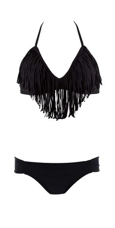 L Space 2013 Black Audrey Fringe Halter Bikini | Southbeachswimsuits