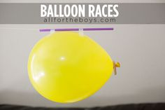 Indoor balloon races - entertain your kids and learn some science.
