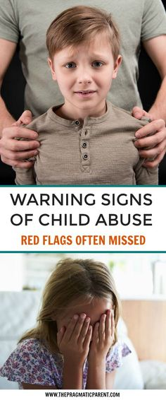 Know the signs of child abuse! Emotional abuse, physical abuse, sexual abuse red flags of adults who abuse. Know the signs in case your child can't tell you and you suspect something is off about your child, another child or a person who could be causing the abuse. via @https://www.pinterest.com/PragmaticParent/