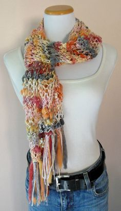 Hand Knit Scarf, Boho Chic, Long Scarf, Multicolored Scarf, Fun & Sassy Scarf, Hand Painted Yarn, Wool Blend, Bamboo Bloom Yarn