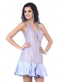 heavily sequined halter purple A line party dress knee length E12059$173.99 #asapbay